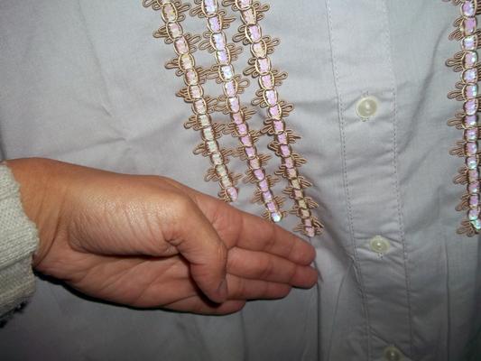 Parte inferior da blusa de tecido