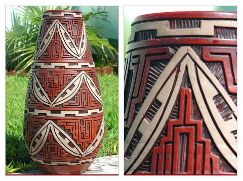 Vaso em cerâmica marajoara em detalhe
