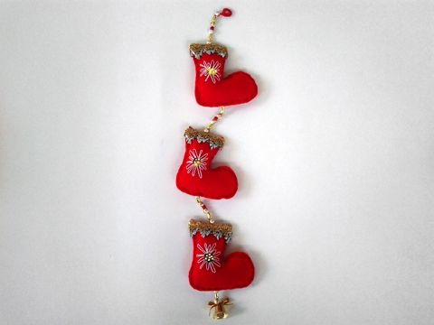 Enfeite de botas de natal